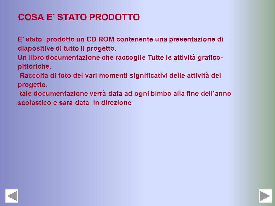 COSA E STATO PRODOTTO E stato prodotto un CD ROM contenente una presentazione di diapositive di tutto il progetto. Un libro documentazione che raccogl