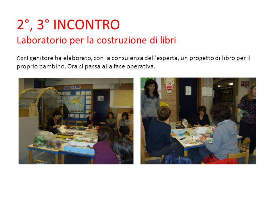 2°, 3° INCONTRO Laboratorio per la costruzione di libri Ogni genitore ha elaborato, con la consulenza dell esperta, un progetto di libro per il proprio bambino.