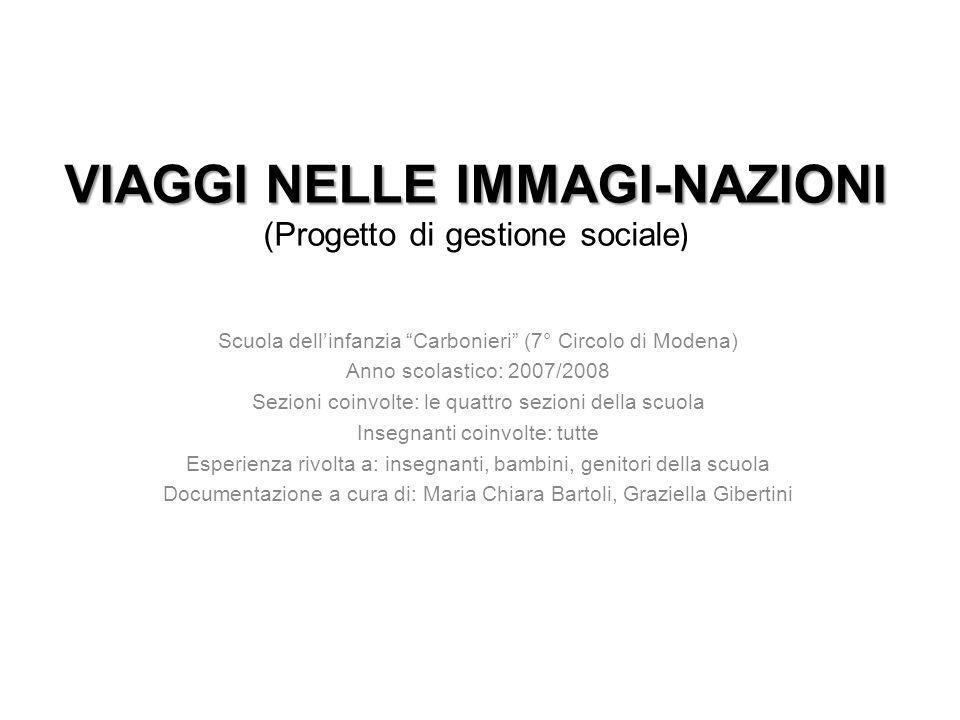 VIAGGI NELLE IMMAGI-NAZIONI VIAGGI NELLE IMMAGI-NAZIONI (Progetto di gestione sociale ) Scuola dellinfanzia Carbonieri (7° Circolo di Modena) Anno sco