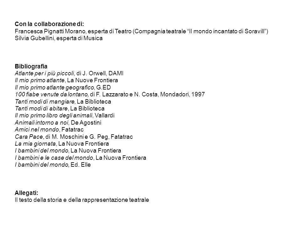 Con la collaborazione di: Francesca Pignatti Morano, esperta di Teatro (Compagnia teatrale Il mondo incantato di Soravill) Silvia Gubellini, esperta d