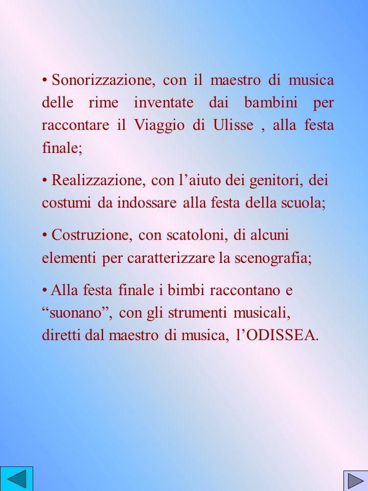 Sonorizzazione, con il maestro di musica delle rime inventate dai bambini per raccontare il Viaggio di Ulisse, alla festa finale; Realizzazione, con l