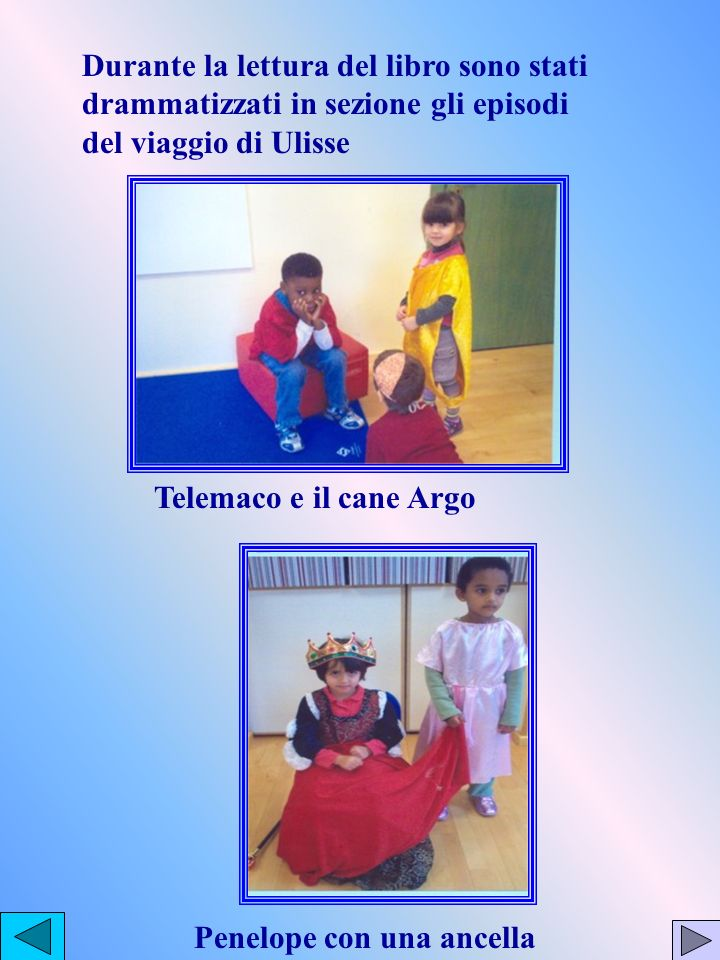 Durante la lettura del libro sono stati drammatizzati in sezione gli episodi del viaggio di Ulisse Telemaco e il cane Argo Penelope con una ancella