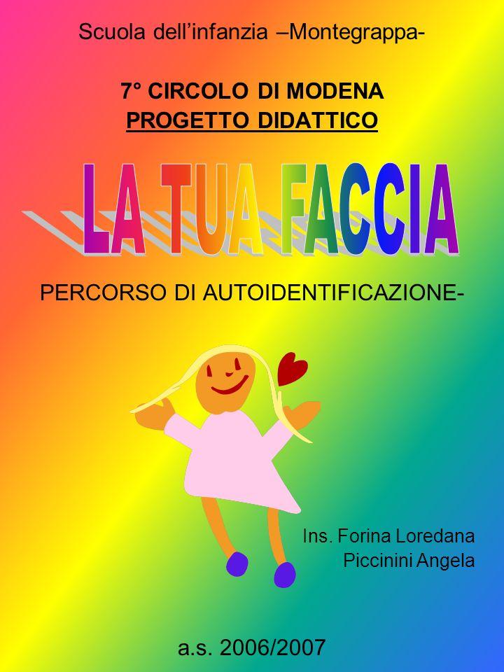 Scuola dellinfanzia –Montegrappa- 7° CIRCOLO DI MODENA PROGETTO DIDATTICO - PERCORSO DI AUTOIDENTIFICAZIONE- Ins. Forina Loredana Piccinini Angela a.s