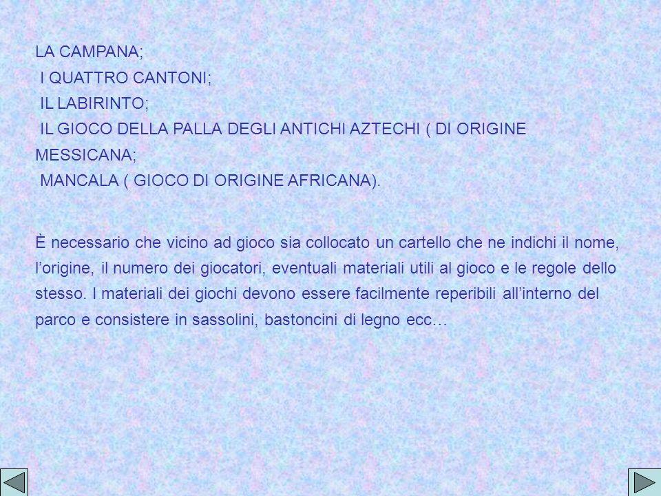LA CAMPANA; I QUATTRO CANTONI; IL LABIRINTO; IL GIOCO DELLA PALLA DEGLI ANTICHI AZTECHI ( DI ORIGINE MESSICANA; MANCALA ( GIOCO DI ORIGINE AFRICANA).
