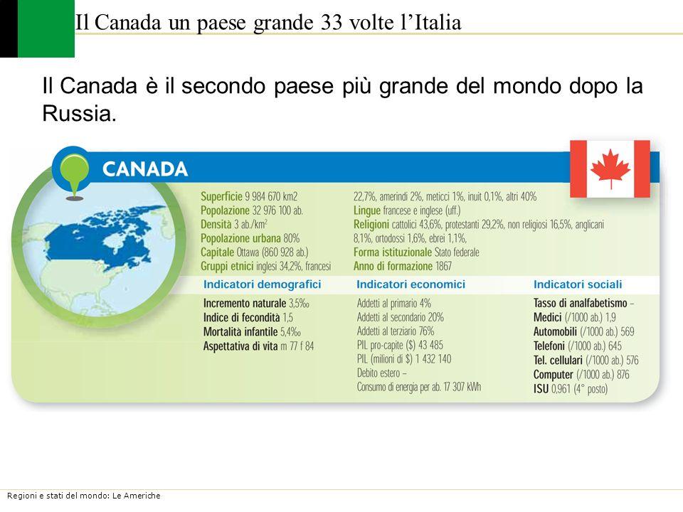 Regioni e stati del mondo: Le Americhe Il Canada un paese grande 33 volte lItalia Il Canada è il secondo paese più grande del mondo dopo la Russia.