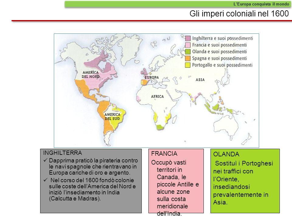 Gli imperi coloniali nel 1600 INGHILTERRA Dapprima praticò la pirateria contro le navi spagnole che rientravano in Europa cariche di oro e argento.