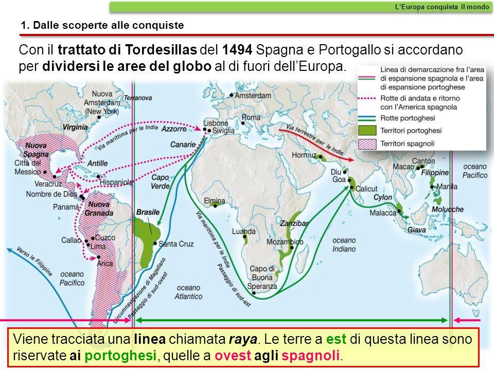 Con il trattato di Tordesillas del 1494 Spagna e Portogallo si accordano per dividersi le aree del globo al di fuori dellEuropa.