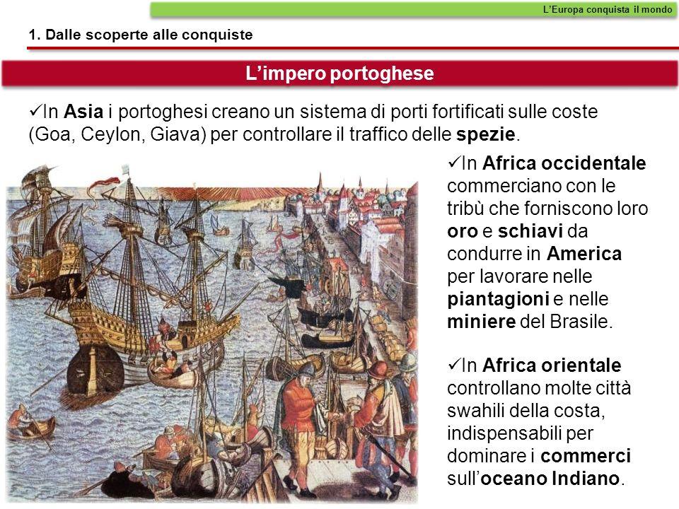 In Asia i portoghesi creano un sistema di porti fortificati sulle coste (Goa, Ceylon, Giava) per controllare il traffico delle spezie.