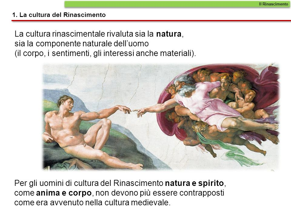 La cultura rinascimentale rivaluta sia la natura, sia la componente naturale delluomo (il corpo, i sentimenti, gli interessi anche materiali). Per gli