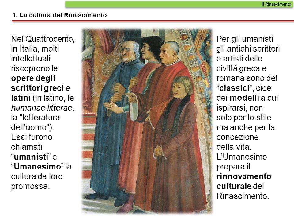 Nel Quattrocento, in Italia, molti intellettuali riscoprono le opere degli scrittori greci e latini (in latino, le humanae litterae, la letteratura de