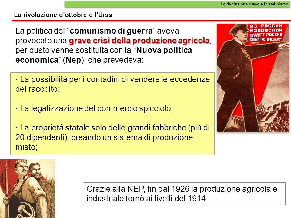 La rivoluzione dottobre e lUrss La rivoluzione russa e lo stalinismo grave crisi della produzione agricola La politica del comunismo di guerra aveva p