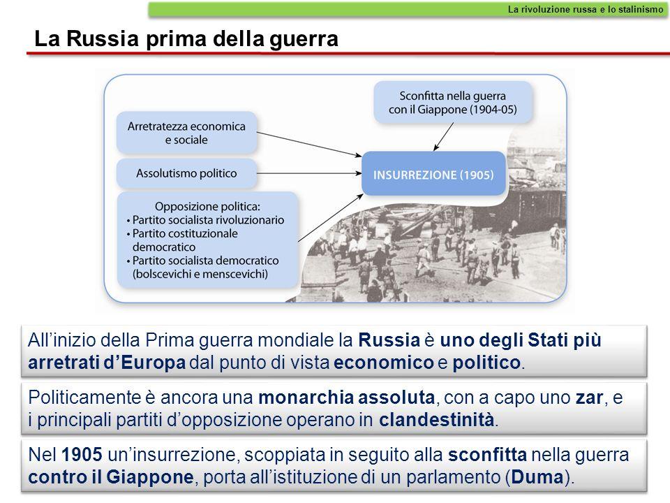 Allinizio della Prima guerra mondiale la Russia è uno degli Stati più arretrati dEuropa dal punto di vista economico e politico. Politicamente è ancor