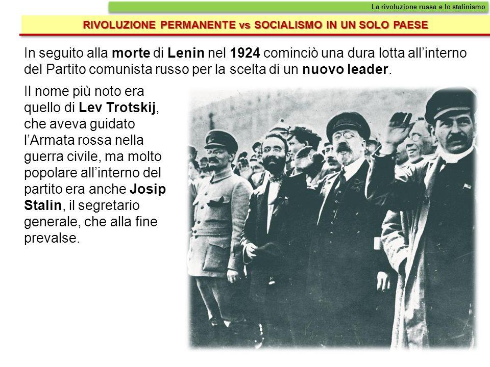 In seguito alla morte di Lenin nel 1924 cominciò una dura lotta allinterno del Partito comunista russo per la scelta di un nuovo leader. RIVOLUZIONE P
