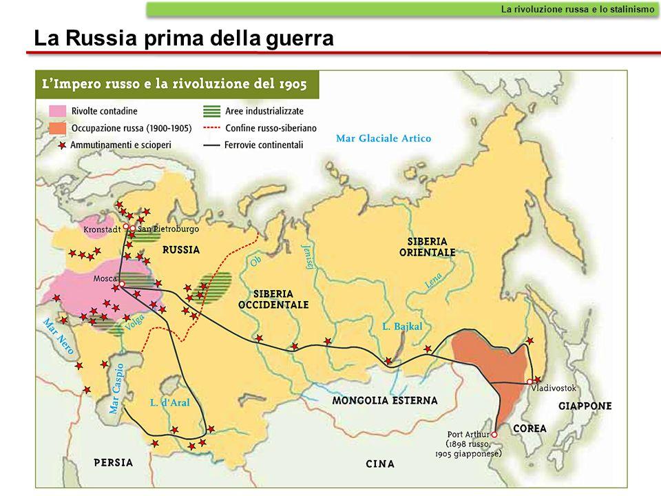 La Russia prima della guerra Sul piano economico soltanto a partire dal 1870 in Russia si assiste a un certo sviluppo industriale, ma limitato a poche aree: quelle di San Pietroburgo, Mosca, e della Polonia, allora nellImpero russo.