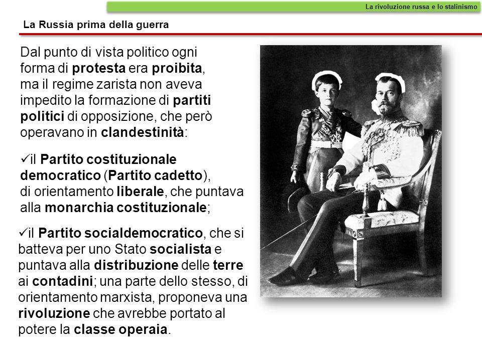 Dal punto di vista politico ogni forma di protesta era proibita, ma il regime zarista non aveva impedito la formazione di partiti politici di opposizi