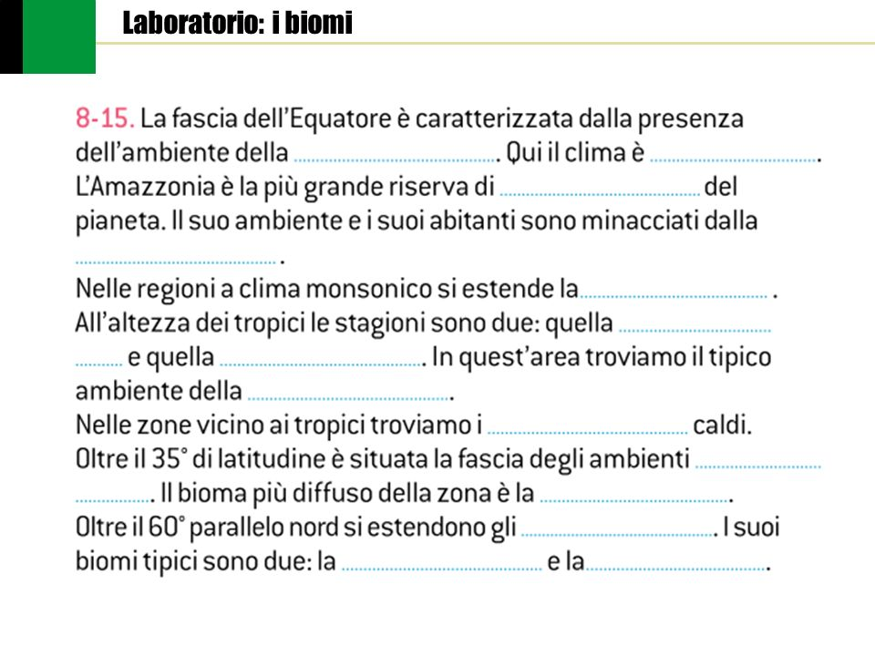 Laboratorio: i biomi