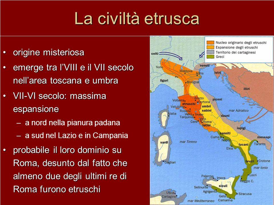 La civiltà etrusca origine misteriosaorigine misteriosa emerge tra lVIII e il VII secolo nellarea toscana e umbraemerge tra lVIII e il VII secolo nell