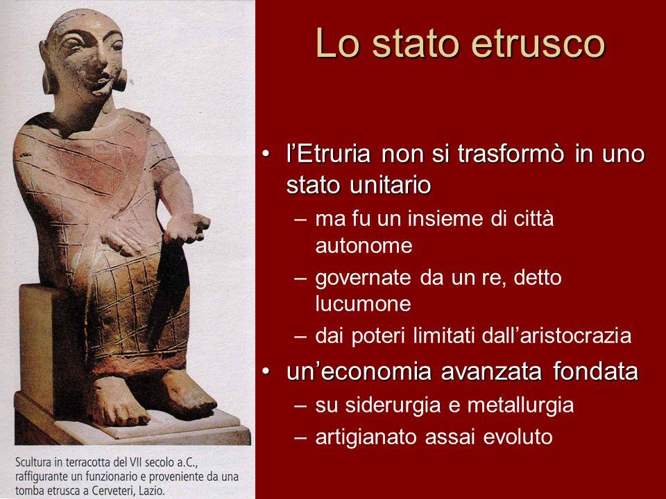 Lo stato etrusco lEtruria non si trasformò in uno stato unitario –ma fu un insieme di città autonome –governate da un re, detto lucumone –dai poteri l
