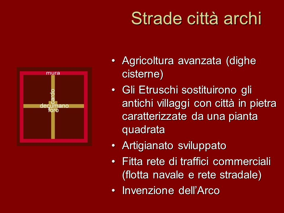 Strade città archi Agricoltura avanzata (dighe cisterne) Gli Etruschi sostituirono gli antichi villaggi con città in pietra caratterizzate da una pian