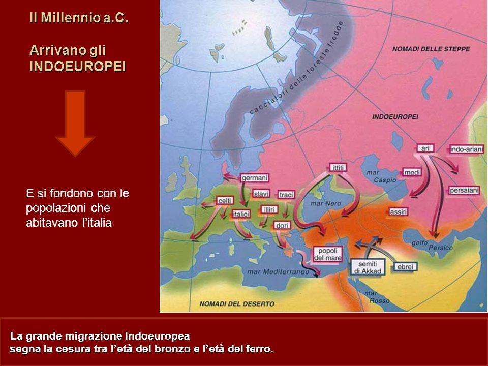 La grande migrazione Indoeuropea segna la cesura tra letà del bronzo e letà del ferro. II Millennio a.C. Arrivano gli INDOEUROPEI E si fondono con le