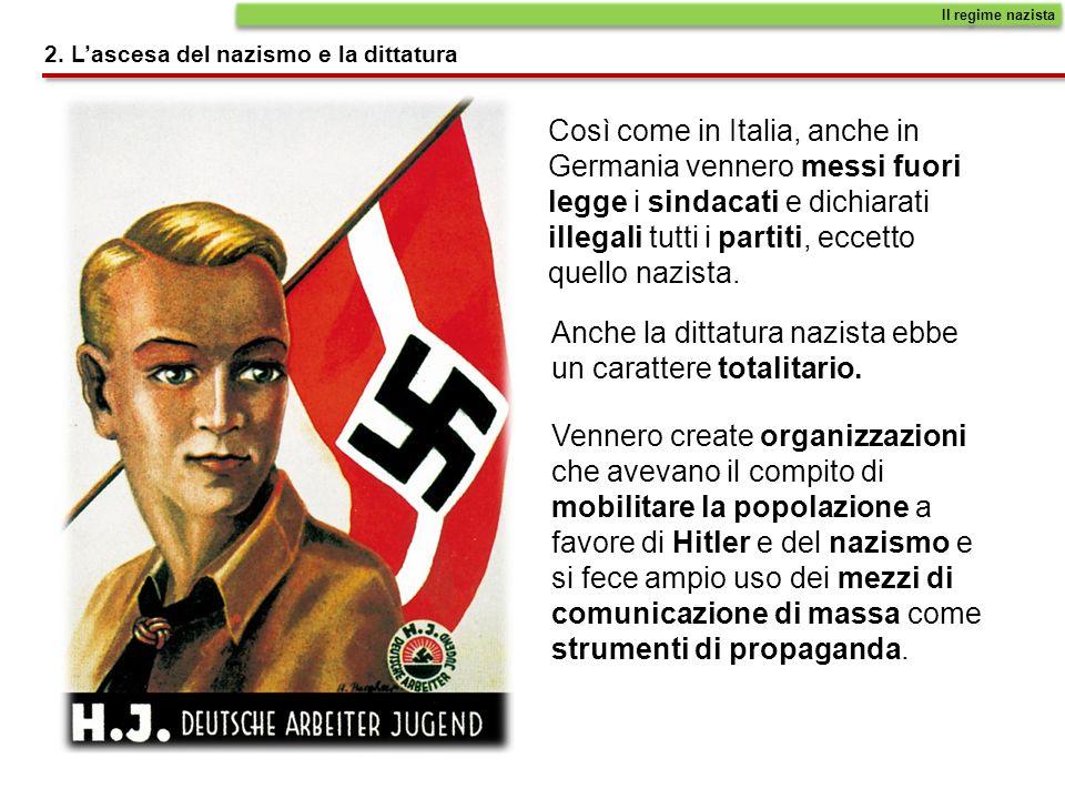 Così come in Italia, anche in Germania vennero messi fuori legge i sindacati e dichiarati illegali tutti i partiti, eccetto quello nazista.