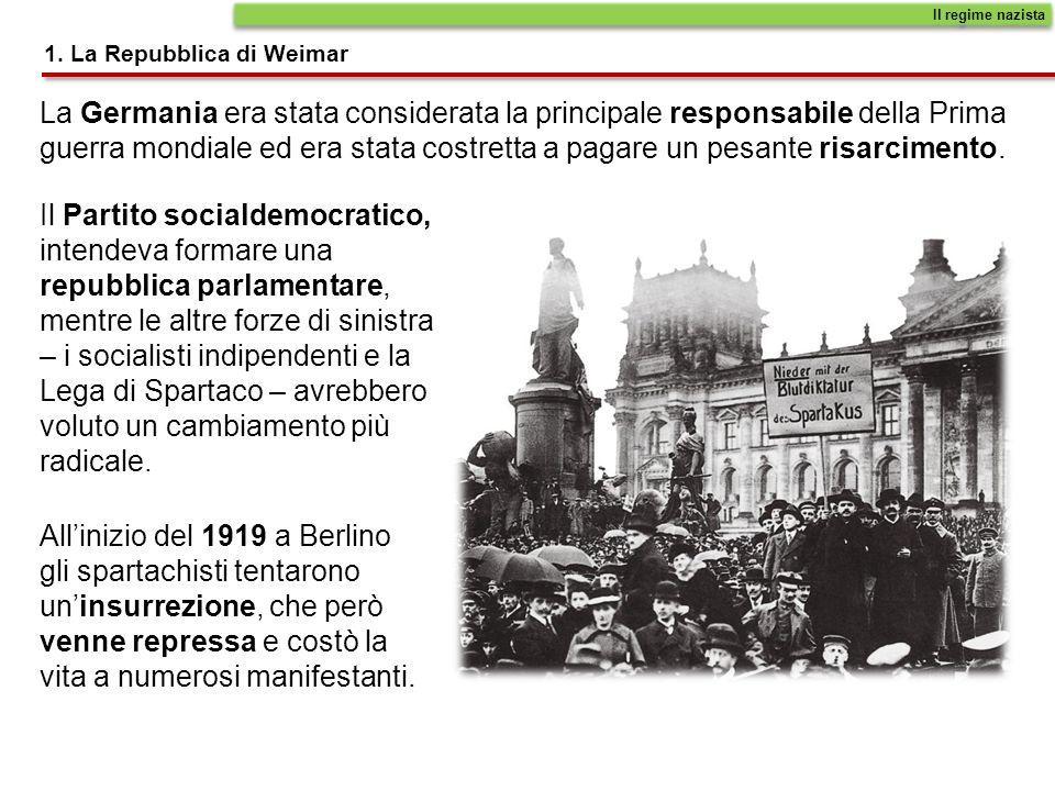 1. La Repubblica di Weimar Il regime nazista La Germania era stata considerata la principale responsabile della Prima guerra mondiale ed era stata cos