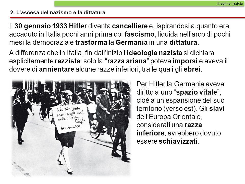Il 30 gennaio 1933 Hitler diventa cancelliere e, ispirandosi a quanto era accaduto in Italia pochi anni prima col fascismo, liquida nellarco di pochi mesi la democrazia e trasforma la Germania in una dittatura.