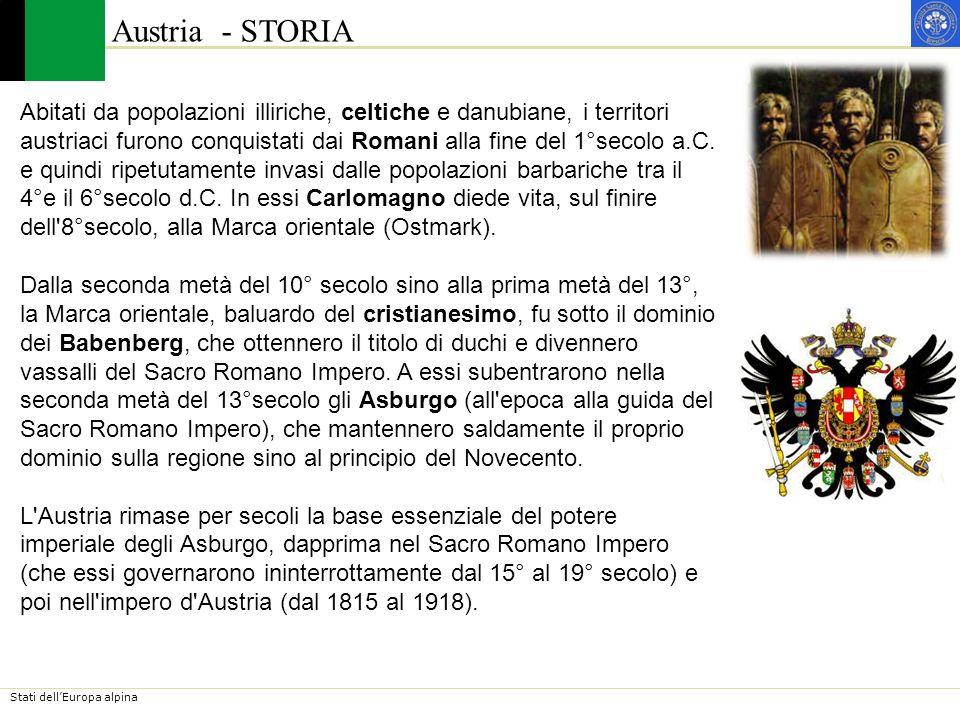 Stati dellEuropa alpina Austria - STORIA Nel 18° secolo, con Maria Teresa e poi con Giuseppe II, fu uno dei centri propulsori dell assolutismo riformatore e delle più significative esperienze di dispotismo illuminato.