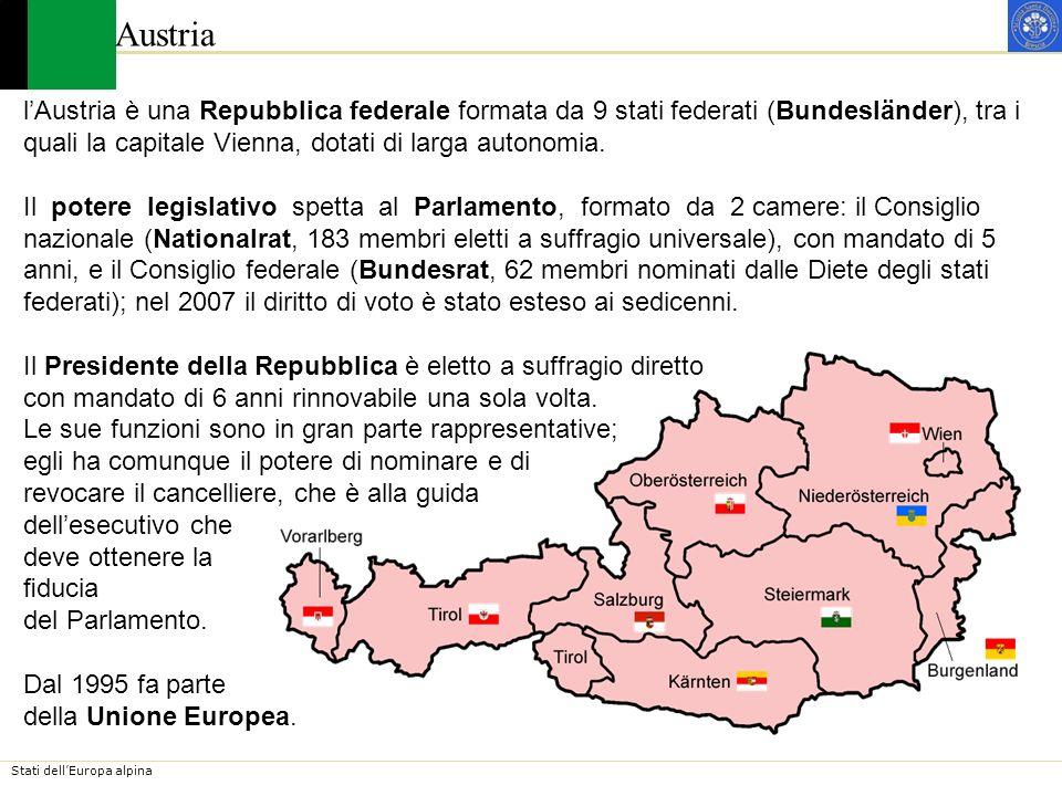 Stati dellEuropa alpina Austria – Le Città In Austria, spicca per importanza una sola grande città, la capitale Vienna.Le altre città principali, Salisburgo, Graz e Innsbruck nellarea alpina e Linz nella pianura del Danubio, svolgono funzioni di livello inferiore.