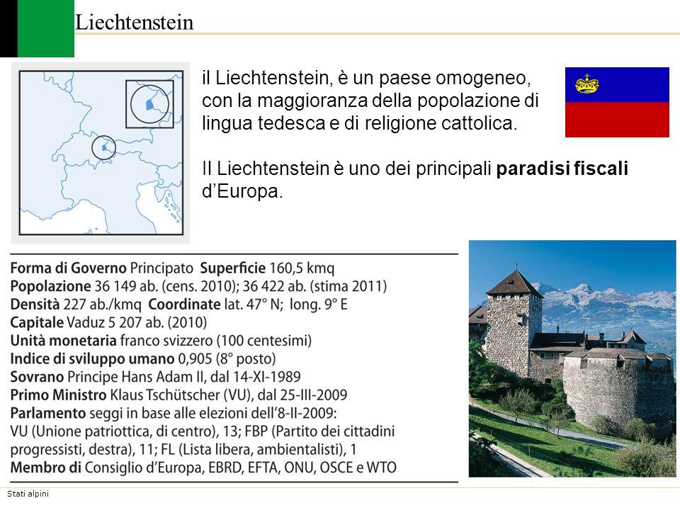 Stati alpini Liechtenstein il Liechtenstein, è un paese omogeneo, con la maggioranza della popolazione di lingua tedesca e di religione cattolica. Il