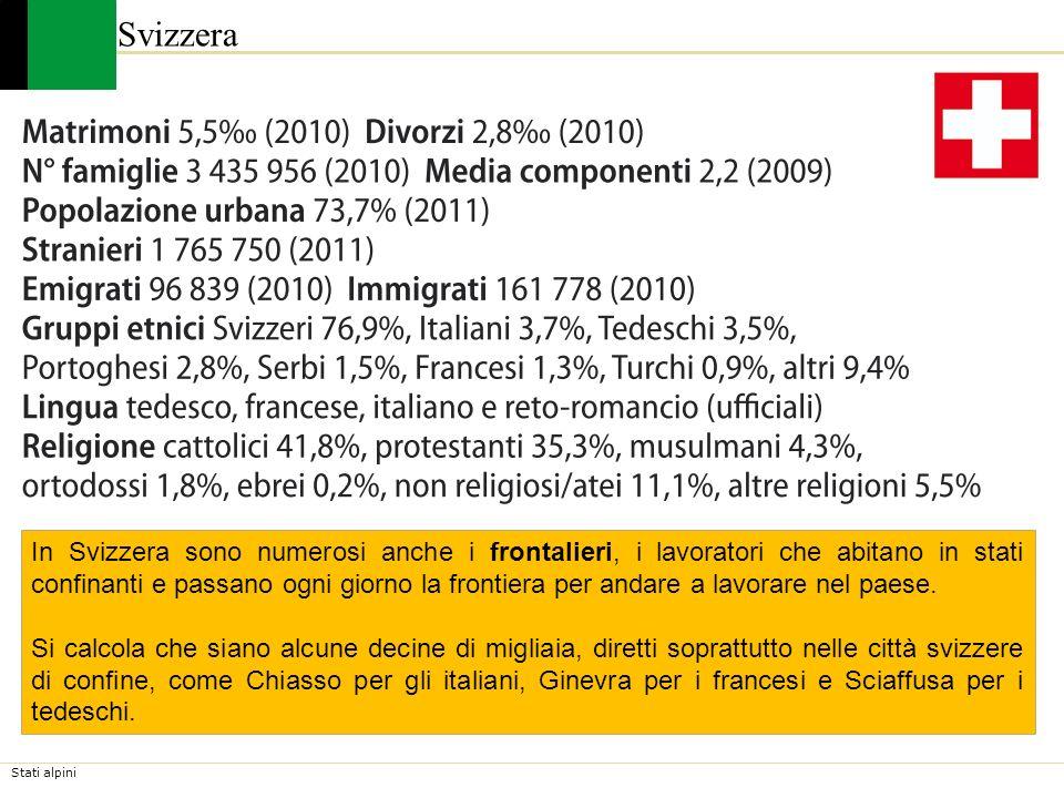 Stati alpini Svizzera La presenza di lavoratori stranieri è consistente. Essi sono oggi oltre 1.700.000, pari a quasi il 20% della popolazione residen