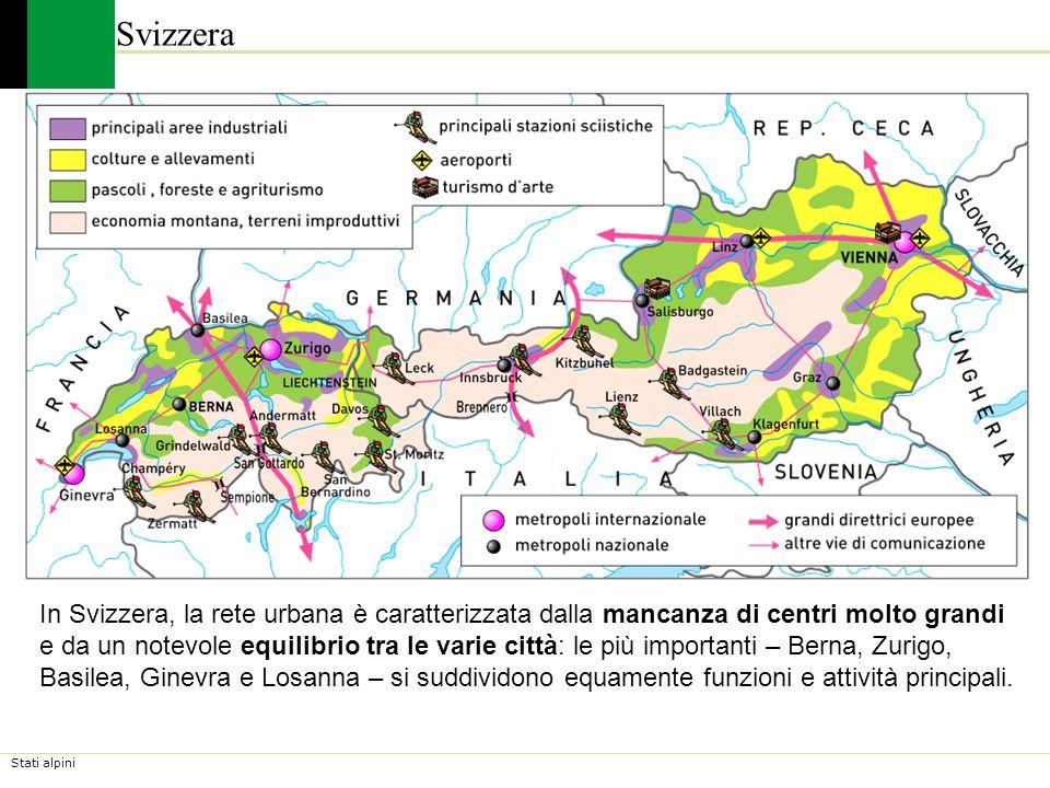 Stati alpini Svizzera In Svizzera, la rete urbana è caratterizzata dalla mancanza di centri molto grandi e da un notevole equilibrio tra le varie citt