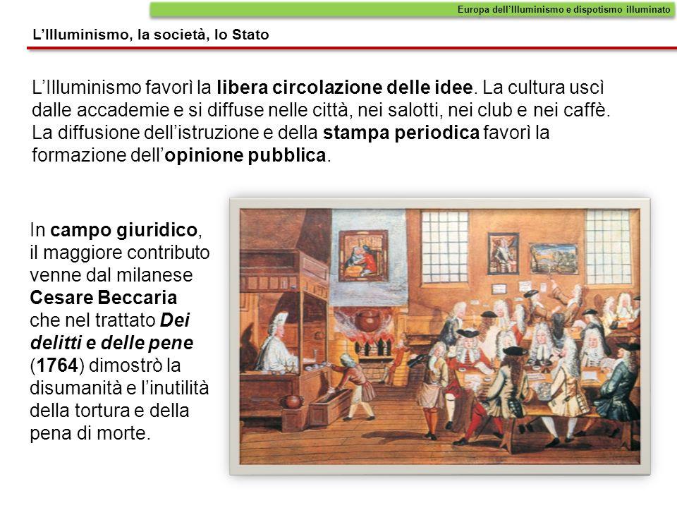 LIlluminismo favorì la libera circolazione delle idee. La cultura uscì dalle accademie e si diffuse nelle città, nei salotti, nei club e nei caffè. La