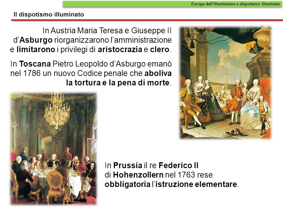 In Austria Maria Teresa e Giuseppe II dAsburgo riorganizzarono lamministrazione e limitarono i privilegi di aristocrazia e clero. In Toscana Pietro Le