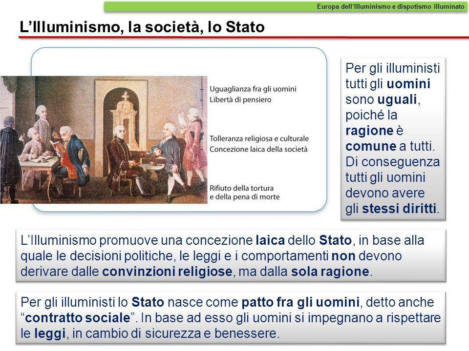 Per gli illuministi tutti gli uomini sono uguali, poiché la ragione è comune a tutti. Di conseguenza tutti gli uomini devono avere gli stessi diritti.