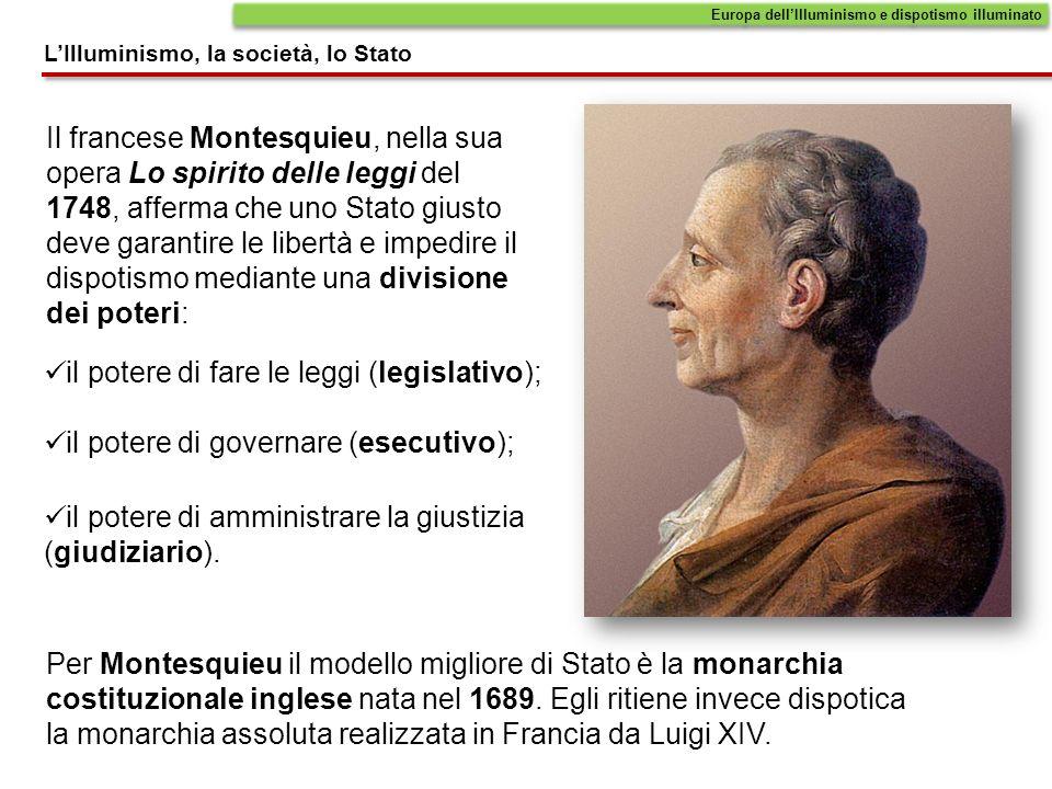 Il francese Montesquieu, nella sua opera Lo spirito delle leggi del 1748, afferma che uno Stato giusto deve garantire le libertà e impedire il dispoti