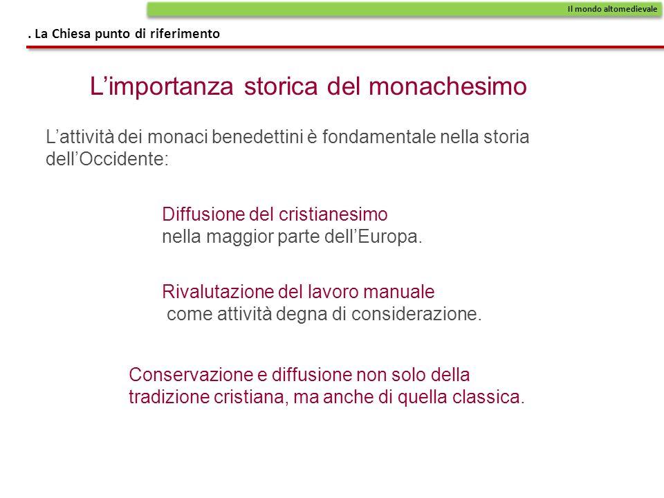Limportanza storica del monachesimo Diffusione del cristianesimo nella maggior parte dellEuropa.