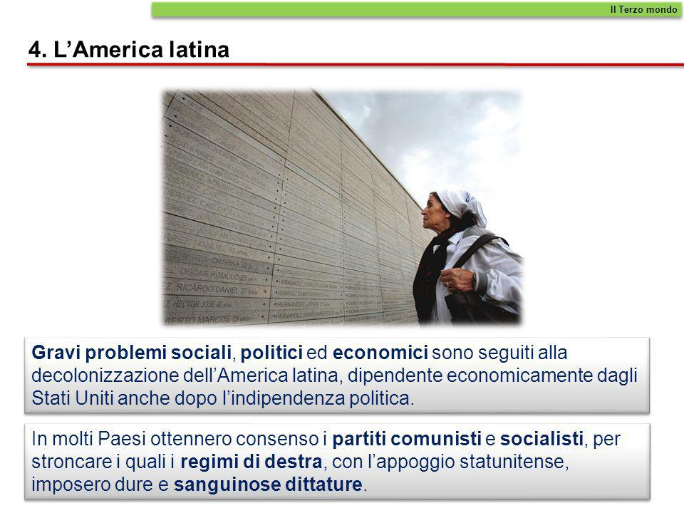 4. LAmerica latina Gravi problemi sociali, politici ed economici sono seguiti alla decolonizzazione dellAmerica latina, dipendente economicamente dagl