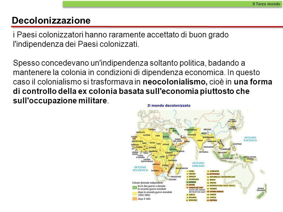 Decolonizzazione Il Terzo mondo i Paesi colonizzatori hanno raramente accettato di buon grado l'indipendenza dei Paesi colonizzati. Spesso concedevano