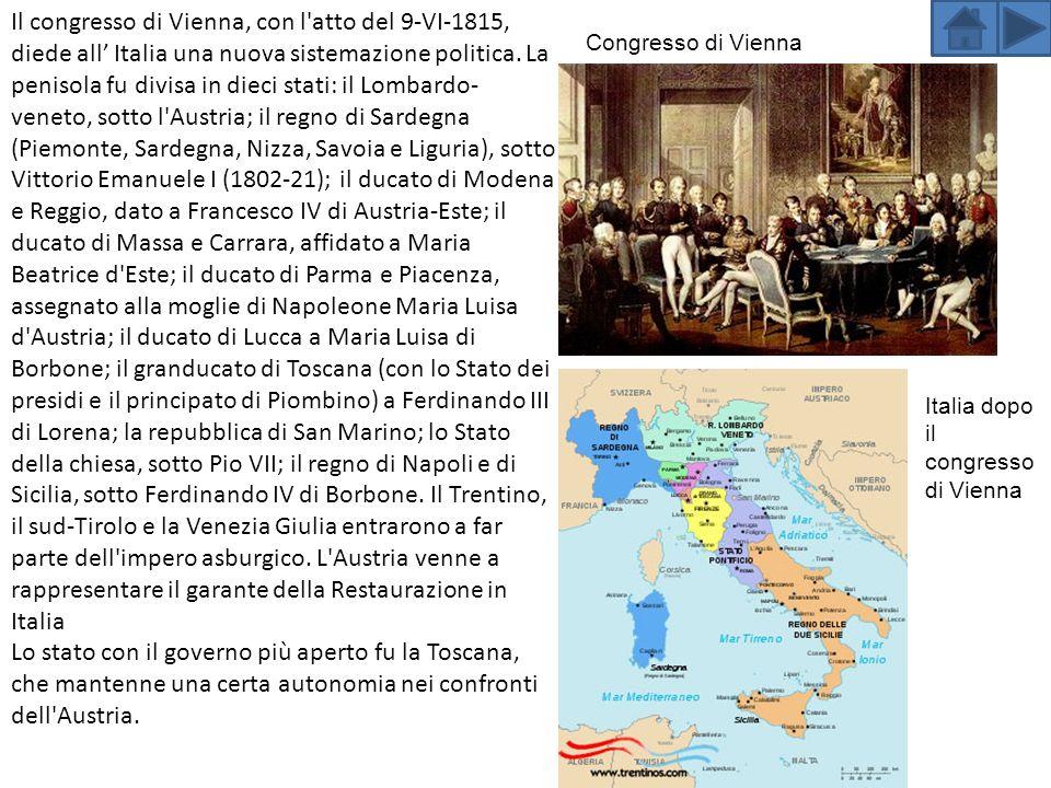 Il congresso di Vienna, con l atto del 9-VI-1815, diede all Italia una nuova sistemazione politica.