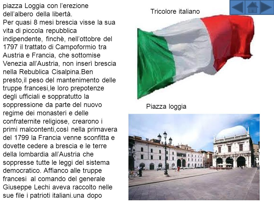 piazza Loggia con lerezione dellalbero della libertà.
