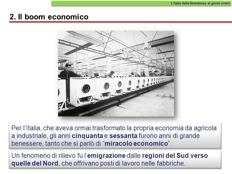 2. Il boom economico Per lItalia, che aveva ormai trasformato la propria economia da agricola a industriale, gli anni cinquanta e sessanta furono anni