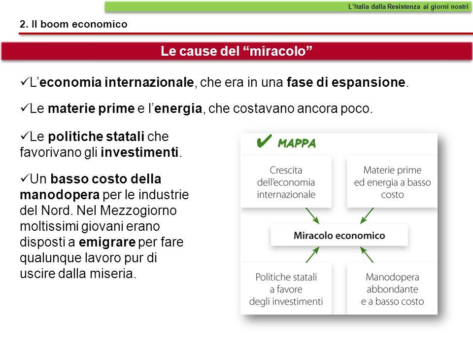 2. Il boom economico Leconomia internazionale, che era in una fase di espansione. Le cause del miracolo LItalia dalla Resistenza ai giorni nostri Le m