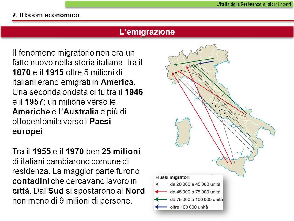 2. Il boom economico Lemigrazione Tra il 1955 e il 1970 ben 25 milioni di italiani cambiarono comune di residenza. La maggior parte furono contadini c