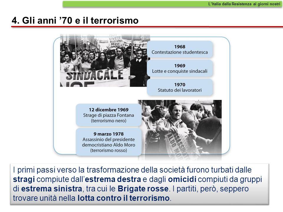 4. Gli anni 70 e il terrorismo I primi passi verso la trasformazione della società furono turbati dalle stragi compiute dallestrema destra e dagli omi