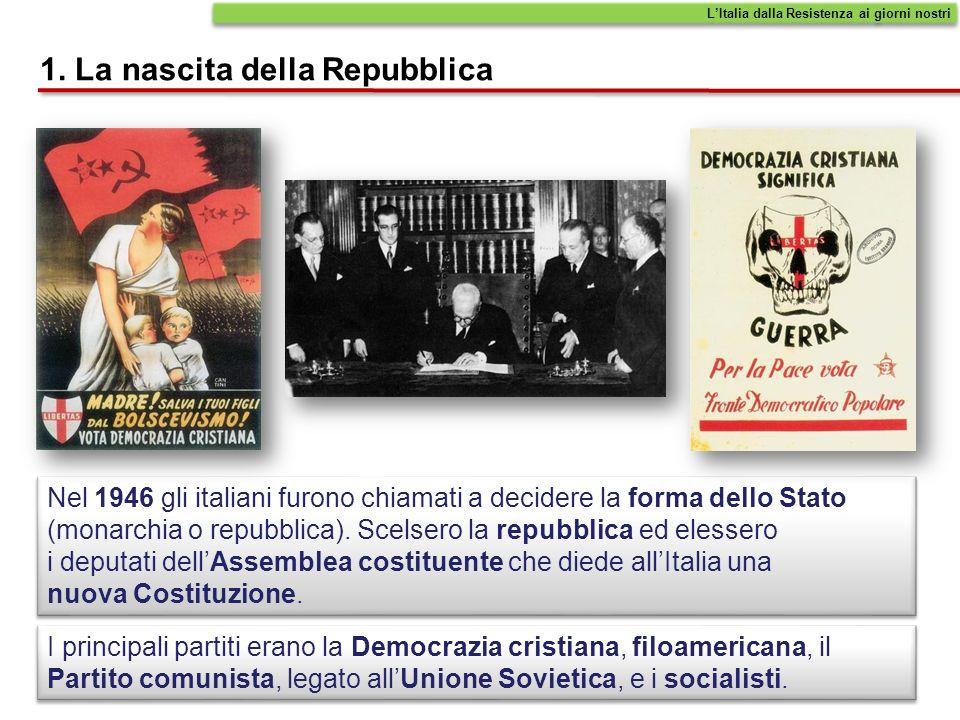 1. La nascita della Repubblica I principali partiti erano la Democrazia cristiana, filoamericana, il Partito comunista, legato allUnione Sovietica, e