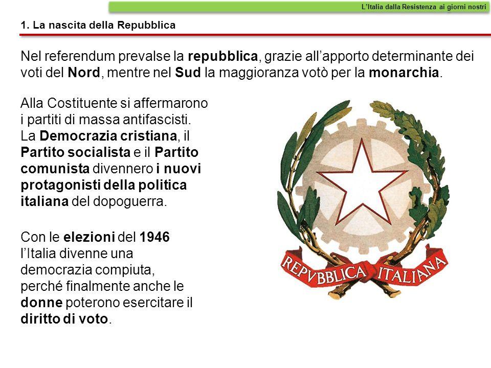 1. La nascita della Repubblica Nel referendum prevalse la repubblica, grazie allapporto determinante dei voti del Nord, mentre nel Sud la maggioranza