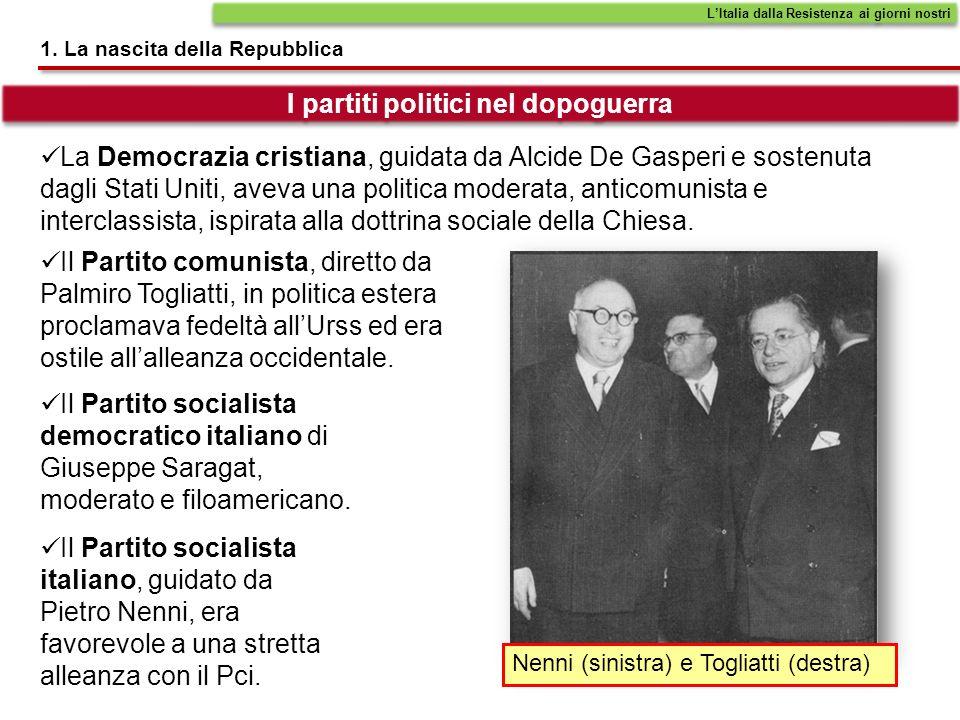 1. La nascita della Repubblica LItalia dalla Resistenza ai giorni nostri La Democrazia cristiana, guidata da Alcide De Gasperi e sostenuta dagli Stati