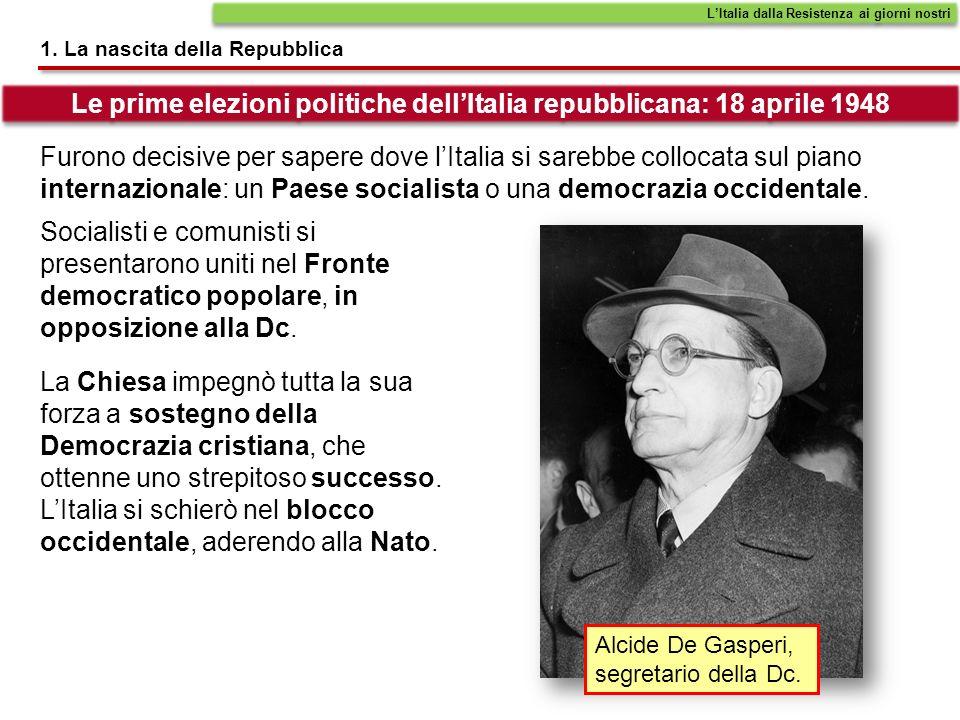 1. La nascita della Repubblica LItalia dalla Resistenza ai giorni nostri Furono decisive per sapere dove lItalia si sarebbe collocata sul piano intern