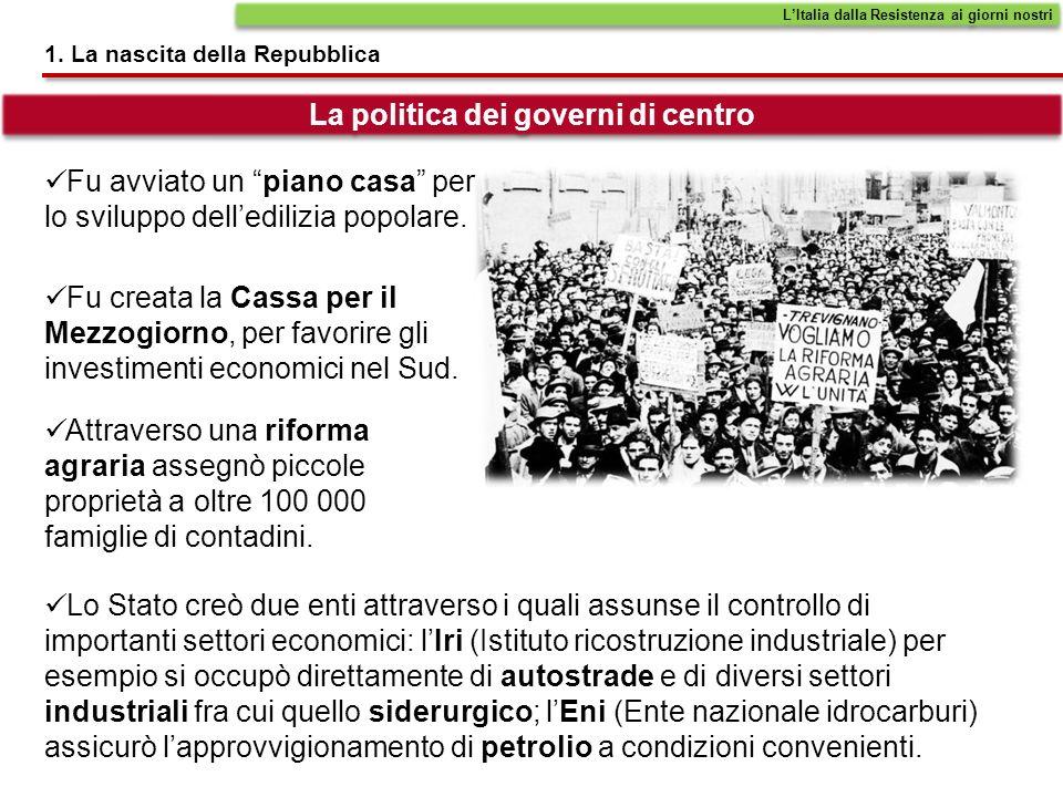1. La nascita della Repubblica LItalia dalla Resistenza ai giorni nostri Fu avviato un piano casa per lo sviluppo delledilizia popolare. La politica d